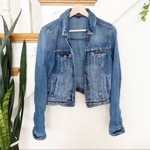AEO distressed button front jean jacket sz M